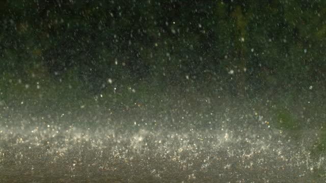 raining on a road, slow motion - pioggia torrenziale video stock e b–roll
