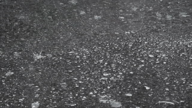 Raining out of the street. Raindrop on concreate floor.