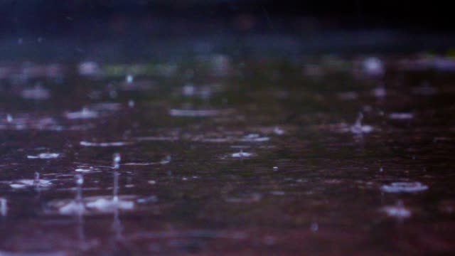Rainy day in city streets, water drops, puddles, super slow motion, selective focus. video