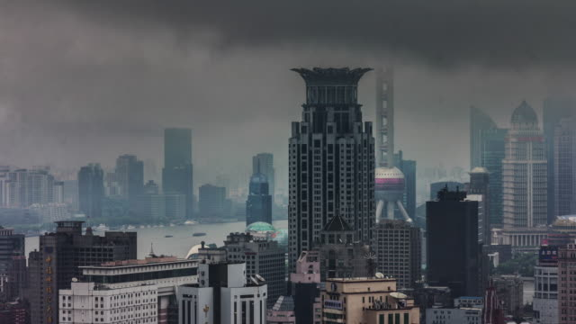 rainy day view on most famous shanghai buildings 4k time lapse video