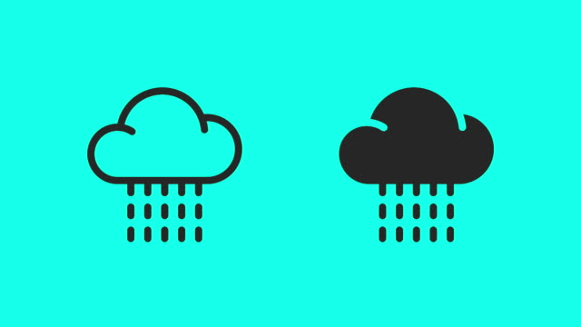 rainy icons - vector animate - clip art video stock e b–roll