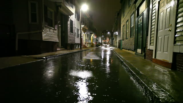 Rainy Night in the City Rainy night in the City of Boston, Massachusetts. alley stock videos & royalty-free footage