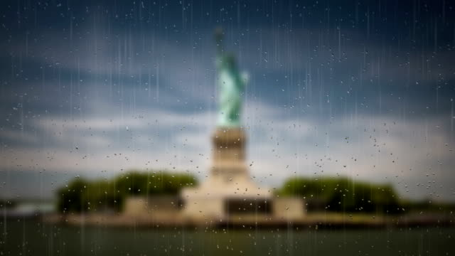 Rainy Window New York - The Statue of Liberty video