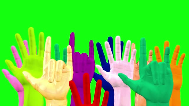 Raised hands as a symbol of freedom on a green background. 3D rendering.