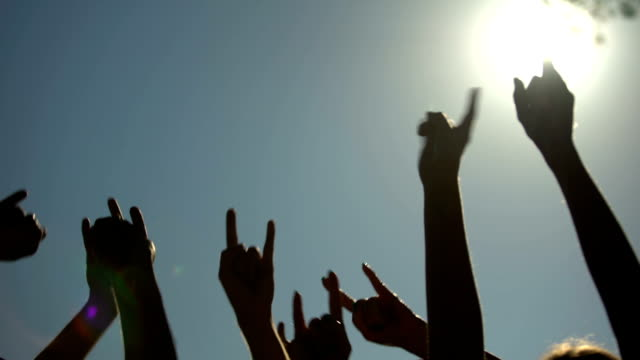 Raised hands showing rock sign of the horns gesture, rock concert, party time