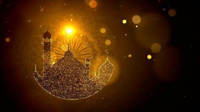 ramadan background looped, gold color - ид аль фитр стоковые видео и кадры b-roll