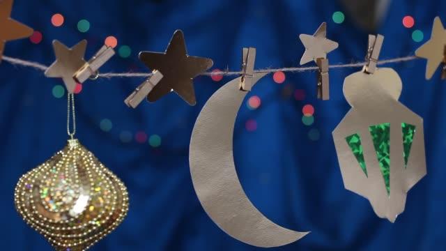 ramadan girlander och papper dekoration - ramadan lykta bildbanksvideor och videomaterial från bakom kulisserna
