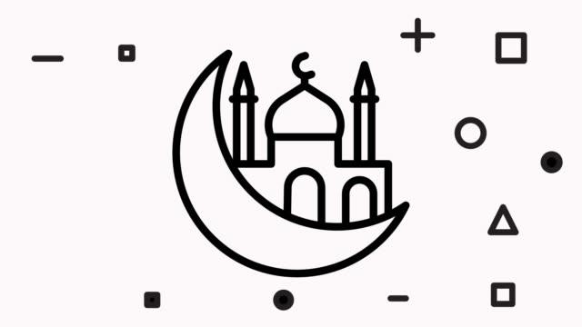 vídeos y material grabado en eventos de stock de animación de iconos de ramadán - eid mubarak