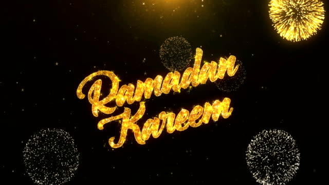 ramadan kareem greeting card text reveal from golden firework & crackers on glitter shiny magic particles sparks night for celebration, wishes, events, message, holiday, festival - ramadan kareem filmów i materiałów b-roll