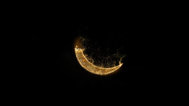 ramadan kareem month with alpha channel. shining sparkling gold particles. gold glowing crescent. - полумесяц форма предмета стоковые видео и кадры b-roll