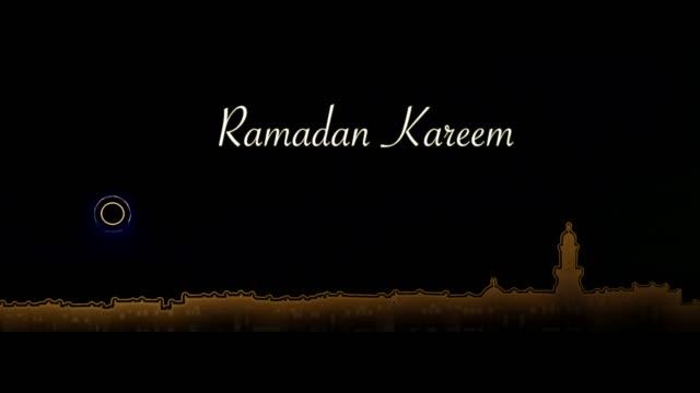 ramadan kareem. moskén siluett med sunset orange över svart bakgrund - ramadan kareem bildbanksvideor och videomaterial från bakom kulisserna