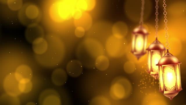 ramadan lantern hanging on bokeh background. - eid stock videos & royalty-free footage