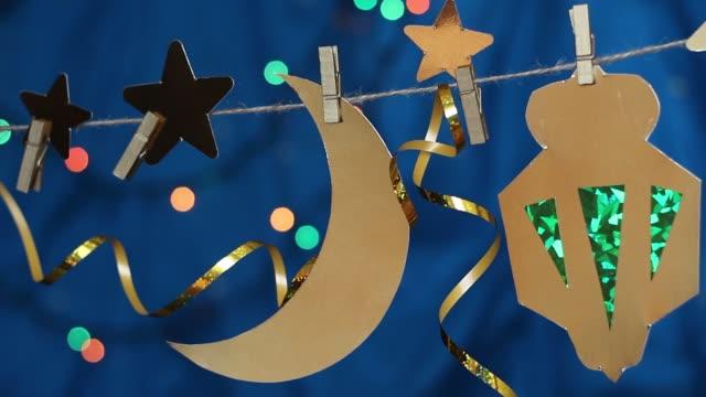 ramadan måne och stjärnor dekorationer - ramadan lykta bildbanksvideor och videomaterial från bakom kulisserna