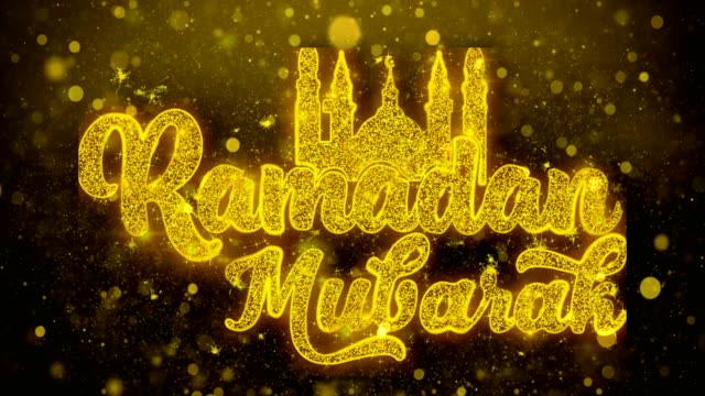 ramadan mubarak wish text on golden glitter shine particles animation - ramadanowa latarnia filmów i materiałów b-roll