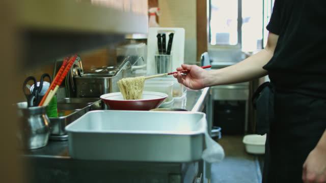 Ramen Chef Plating Noodles