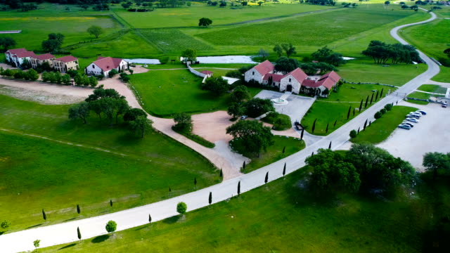 ranch homes on vineyard with wine fields in the background - attività agricola video stock e b–roll