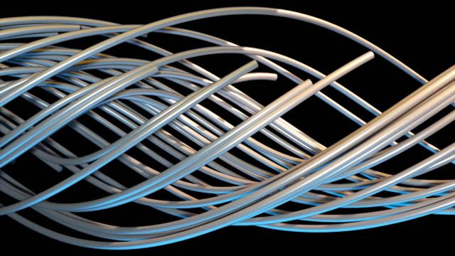 Random optical fibers are woven into a large spiral, 3d rendering. Computer generated abstract volumetric background