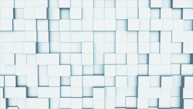 正方形の幾何学的な表面のループからのランダムな手を振ってモーション抽象背景: 光明るいきれいな最小限の正方形のグリッドパターン、純粋な壁の建築白でキャンバス。シームレスルー� - 彫刻点の映像素材/bロール