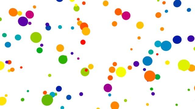 vídeos y material grabado en eventos de stock de patrones de lunares coloridos en movimiento aleatorio de formas de círculo volador - 4k seamless loop motion background animation - lunares