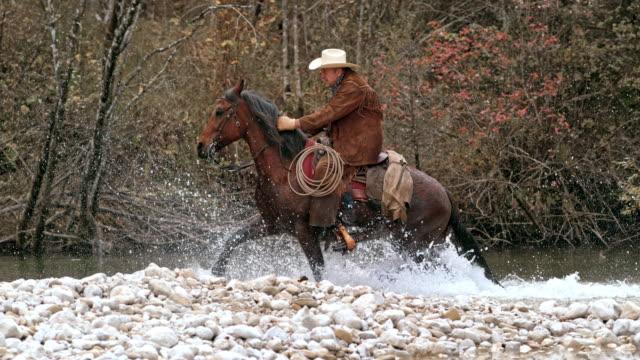 SLO MO TS Ranger crossing river on trotting horse video