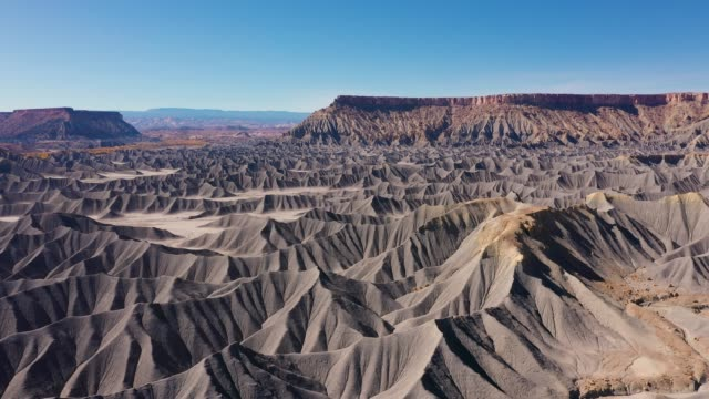 Ranges Of Mountains Of Steel Gray Color Sandstone In Canyon Aerial View