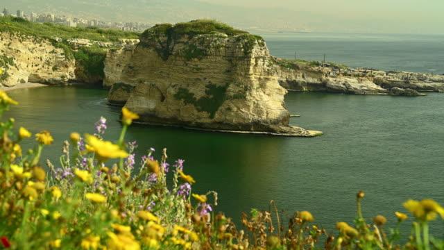 raouche 岩石 - lebanon 個影片檔及 b 捲影像
