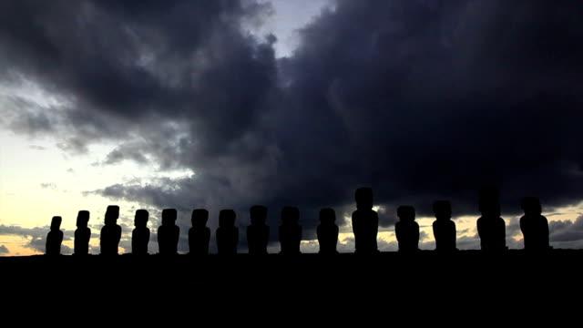 Rapa Nui Moais at Sunrise Easter Island, Chile video