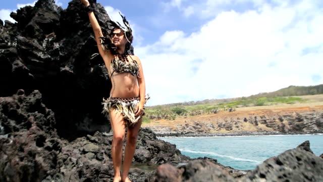 rapanui dancer feather dress video