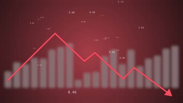 Rapid decline red chart as a symbol of the fall of quotations of the stock market.