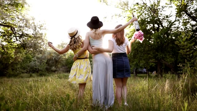 rare view of a group of three young nice girls embrace themselves looking at perspective. girl in the middle is holding a wine bottle. green meadow - bachelorette party stock videos and b-roll footage
