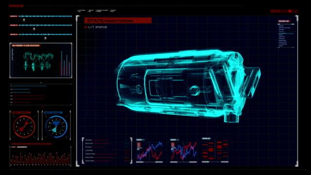 Ratating  car compressor X-ray image in digital display panel. video