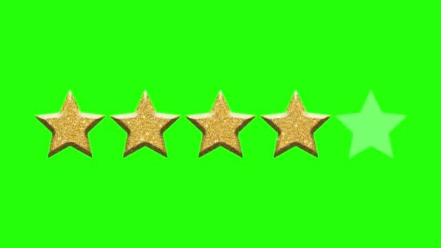 Rating stars on green background. Chroma key