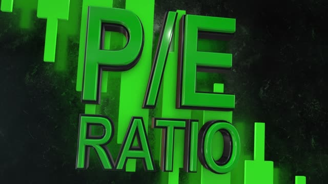 P/E ratio, price to earnings ratio 3D title animation for stock market