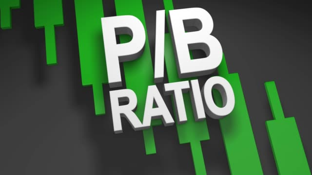 P/B Ratio price-to-book ratio 3D title animation for stock market video