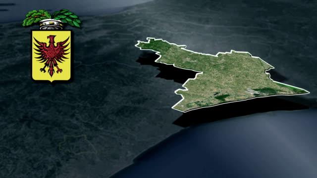 ravenna'nın il whit arması animasyon harita - ravenna stok videoları ve detay görüntü çekimi