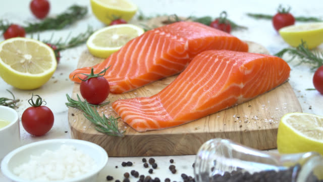 Raw and fresh salmon meat fillet Raw and fresh salmon meat fillet raw footage stock videos & royalty-free footage