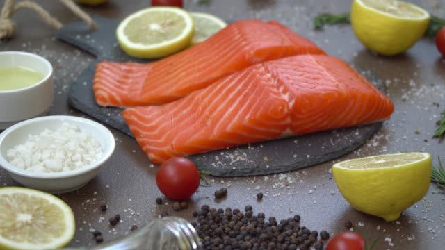 Raw and fresh salmon meat fillet video