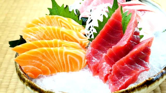 Raw and fresh salmon tuna and other sashimi fish meat Raw and fresh salmon tuna and other sashimi fish meat tuna seafood stock videos & royalty-free footage