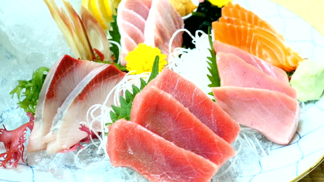 Raw and fresh sashimi fish meat video