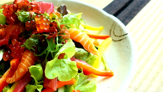 Raw and fresh sashimi fish meat with vegetable video