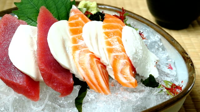 raw and fresh sashimi set with salmon and tuna fish meat - seafood stock videos and b-roll footage
