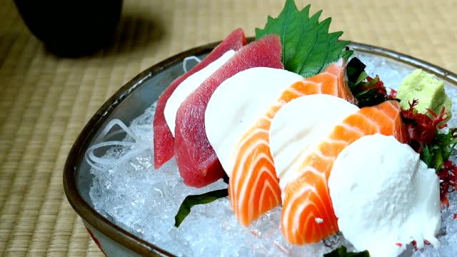 Raw and fresh sashimi set with salmon and tuna fish meat video