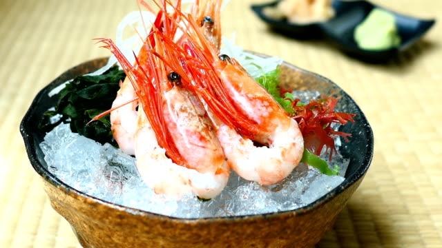 Raw and fresh shrimp or prawn sashimi video