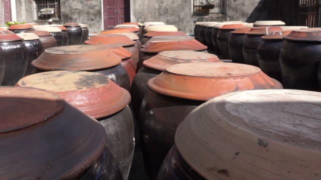 crudo nero soia fermented con sale in una pentola di argilla di salsa di soia - fermentare video stock e b–roll