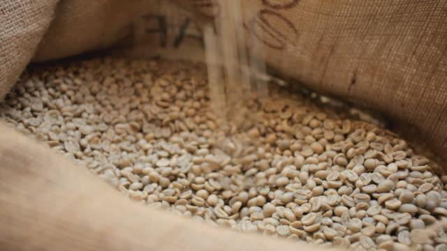 raw coffee beans scoop video
