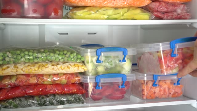 A raw food diet Plastic boxes and bags with sliced vegetables and fruits freezer stock videos & royalty-free footage