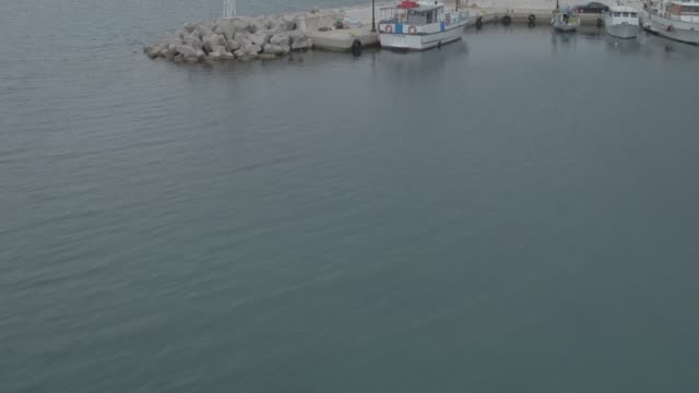 Raw footage - Aerial - Drone - Leros Island - Aegean Sea - Dodecanese - Revealing of a small harbor video