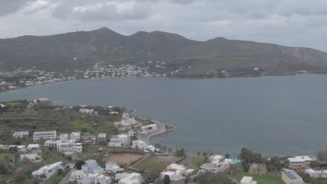 Raw footage - Aerial - Drone - Leros Island - Aegean Sea - Dodecanese - straight flight over a traditional town in Leros Island and a harbor video