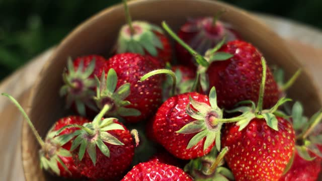 Raw fresh real organic strawberries on garden background in the sunny day video