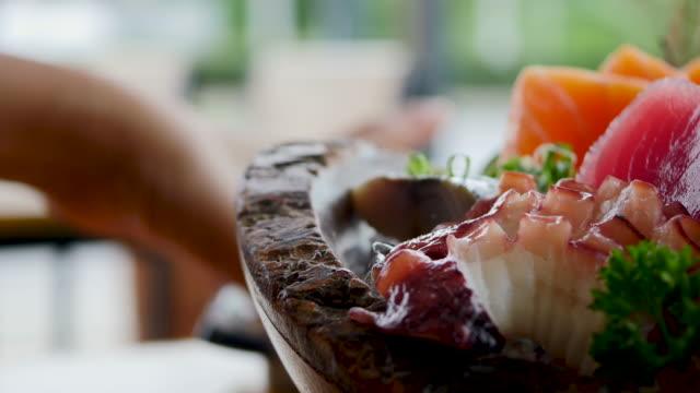Raw fresh Sashimi - japanese food style Raw fresh Sashimi - japanese food style sashimi stock videos & royalty-free footage